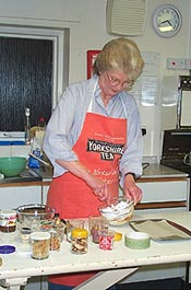 Margaret Reardon demonstrates chocolate making